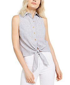 Tie-Front Sleeveless Shirt