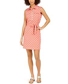 Dot-Print Belted Sheath Dress