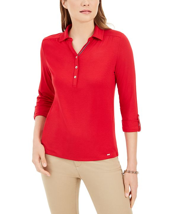 Tommy Hilfiger 3/4-Sleeve Button Neck Shirt