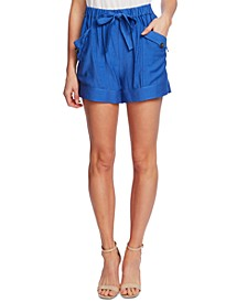 Tie-Front Pull-On Paperbag Shorts