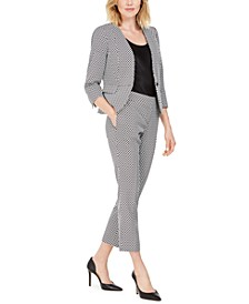 Circle Jacquard Blazer & Slim Ankle Dress Pants