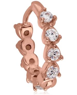 Cubic Zirconia 10K Rose Gold Sterling Silver-Tone Ear Cartilage Hoop
