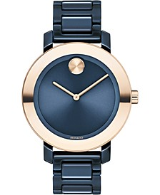 Women's Swiss BOLD Evolution Blue Ceramic Bracelet Watch 36mm