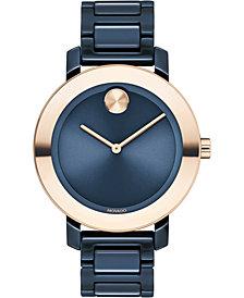 Movado Women's Swiss BOLD Evolution Blue Ceramic Bracelet Watch 36mm
