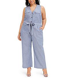 Monteau Trendy Plus Size Denim Jumpsuit