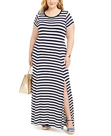 Plus Size Striped Slit Maxi Dress