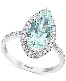 EFFY® Aquamarine (3 ct. t.w.) & Diamond (3/8 ct. t.w.) Halo Pear Teardrop Ring in 14k White Gold