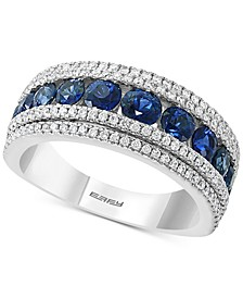 EFFY® Sapphire (1-3/4 ct. t.w) & Diamond (1/2 ct. t.w.) Band Ring in 14k White Gold