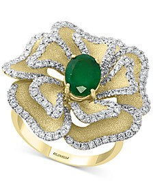 EFFY® Emerald (1-1/6 ct. t.w.) & Diamond (1-1/20 ct. t.w.) Flower Statement Ring in 14k Gold