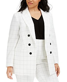 Trendy Plus Size Double-Breasted Windowpane Blazer, Created for Macy's