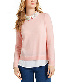 Charter Club Layered-Look Cashmere Sweater, Created for Macy's