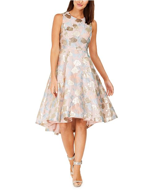 Calvin Klein Metallic Floral Jacquard Dress