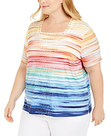 Plus Size Classics Rhinestone-Embellished Striped Top