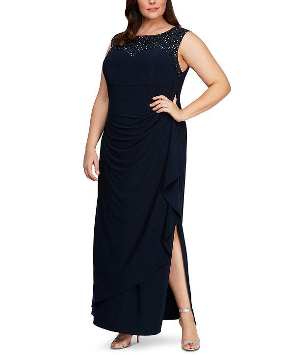Alex Evenings Plus Size Rhinestone-Detailed Gown
