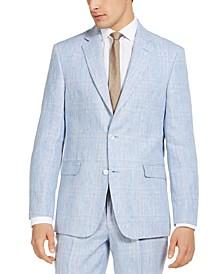 Men's Classic-Fit THFlex Stretch Blue & Tan Plaid Linen Suit Separate Jacket