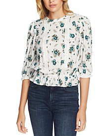 Floral-Print Lace-Inset Top