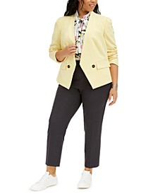 Trendy Plus Size Jacket, Tie-Neck Top & Ankle Pants, Created for Macy's