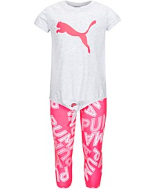 Little Girls 2-Pc. Tie-Front T-Shirt & Printed Capri Leggings