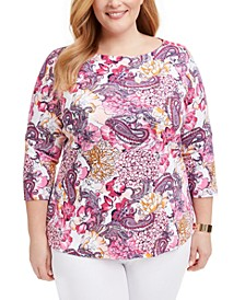 Plus Size Cotton Printed Boatneck Top