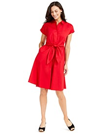 Cotton Tie-Waist Fit & Flare Dress, Created for Macy's