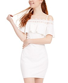 Juniors' Crochet Off-The-Shoulder Dress