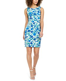 Floral-Print Starburst Sheath Dress