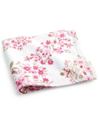 "Pink Botanical Garden Cotton 13"" x 13"" Wash Towel"