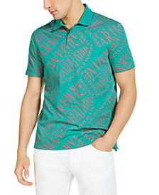 A|X Armani Exchange Allover Lettering Polo, Created for Macy's