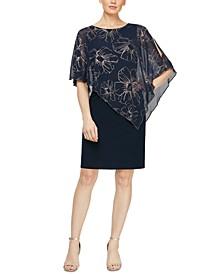 Petite Asymmetrical-Overlay Sheath Dress