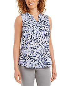 Sleeveless Printed Zip-Front Top, Created for Macy's