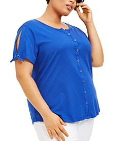 Plus Size Tie-Sleeve Button-Up Top, Created for Macy's