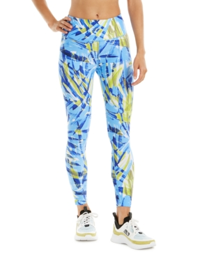 Calvin Klein Performance Printed High-waist Leggings In Drybrush Blue Sky Combo