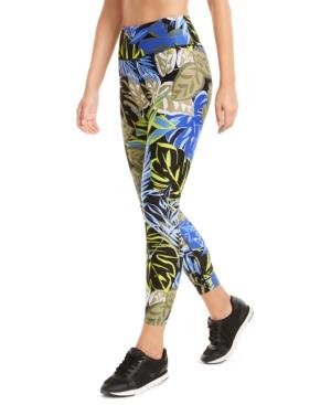 Calvin Klein Performance Printed High-waist Leggings In Amazon Bold Blue Combo