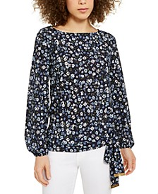Floral-Print Side-Tie Top, Regular & Petite
