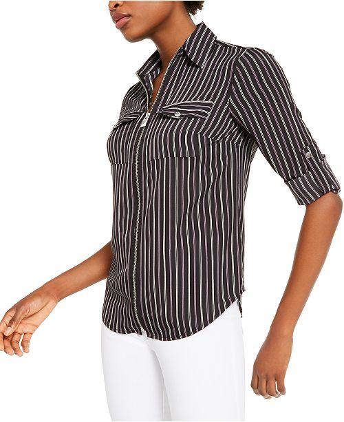 Michael Kors Striped Zip-Up Shirt