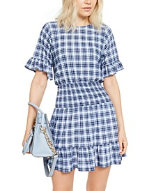 Plaid Smocked-Waist Dress