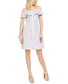 Ruffled Linen-Blend Off-The-Shoulder Dress, Regular & Petite Sizes