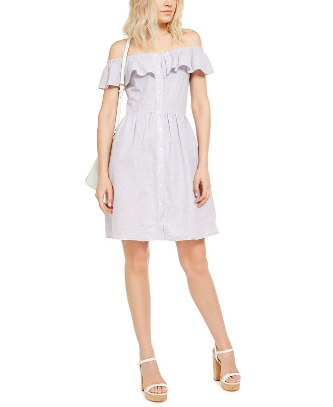 Michael Kors Ruffled Linen-Blend Off-The-Shoulder Dress
