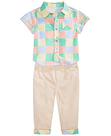 Baby Boys New Stripe Shirt & Chino Pants with Printed Cuffs Separates, Created for Macy's