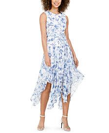 Calvin Klein Belted Handkerchief-Hem Midi Dress