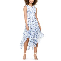 Deals on Calvin Klein Belted Handkerchief-Hem Midi Dress