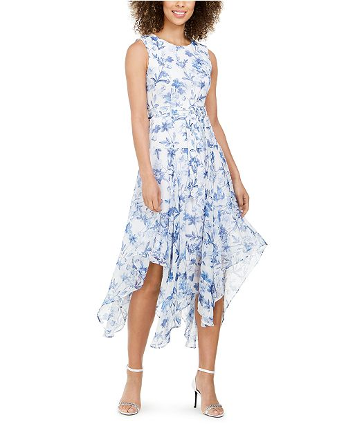 Calvin Klein Petite Belted Handkerchief-Hem Midi Dress