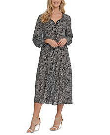 Printed Ruched Midi Dress