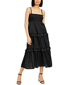 INC Cotton Smocked Tiered Maxi Dress, Created for Macy's