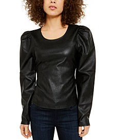 INC Faux-Leather Tie Top, Created for Macy's