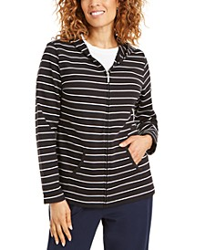 Striped Zippered Hoodie, In Petites, Created for Macy's