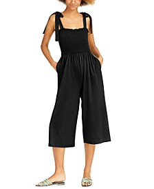 Tie Sleeve Smocked Cropped Jumpsuit