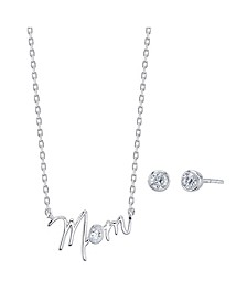 "2-Pc. Set Cubic Zirconia Mini ""Mom"" Pendant Necklace & Stud Earrings in Fine Silver-Plate, Created for Macy's"