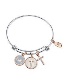 """Faith"" Cross Enamel and Cubic Zirconia Adjustable Bangle Bracelet in Stainless Steel with Silver Plated Charms"