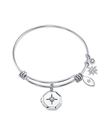 Star Locket and Cubic Zirconia Adjustable Bangle Bracelet in Stainless Steel